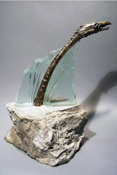 Trophée en verre : Créature préhistorique