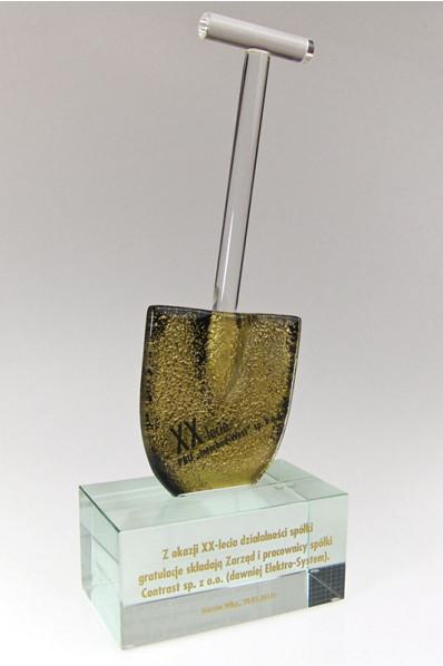 Trophée en verre : Pelle