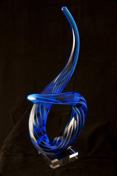 Trophée en verre : Flamme coloré