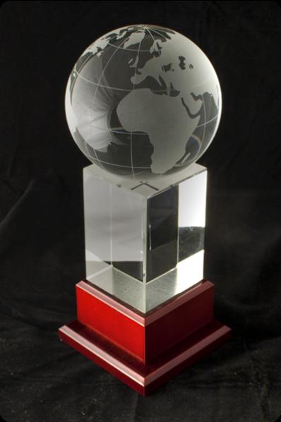 Trophée en verre : Globe 2