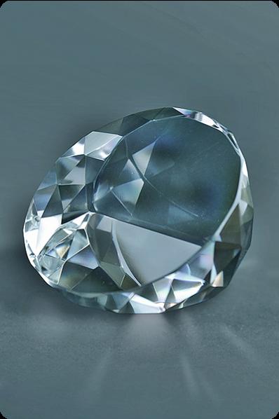 Trophée en verre : Presse-papier diamant