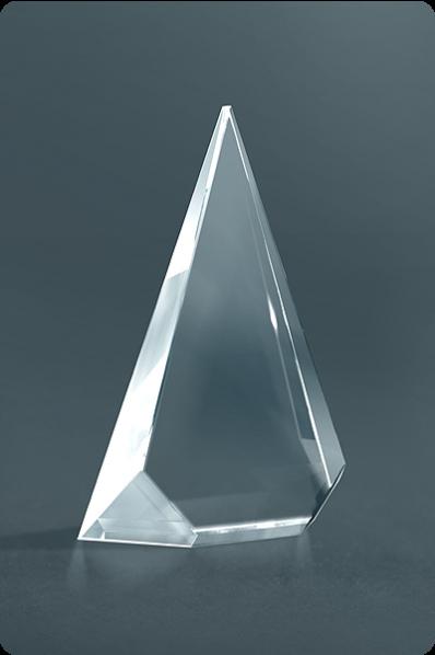 Trophée en verre : Plaque triangulaire