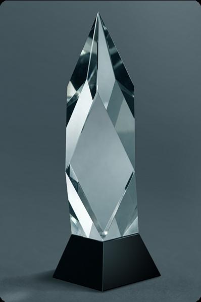 Trophée en verre : Statuette flèche