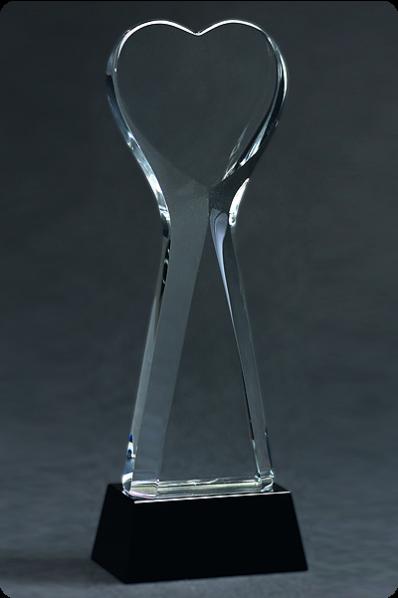 Trophée en verre : Cœur