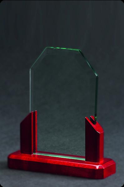 Trophée en verre : Plaque de verre avec base en bois