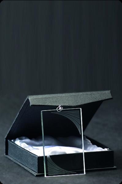 Trophée en verre : Médaille rectangulaire en verre