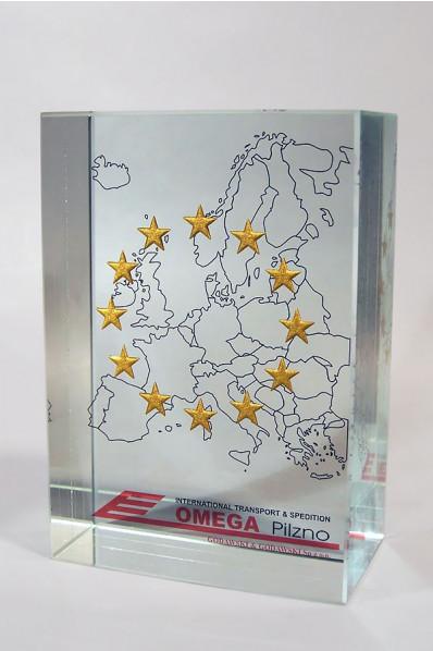 Carte d'Europe en verre
