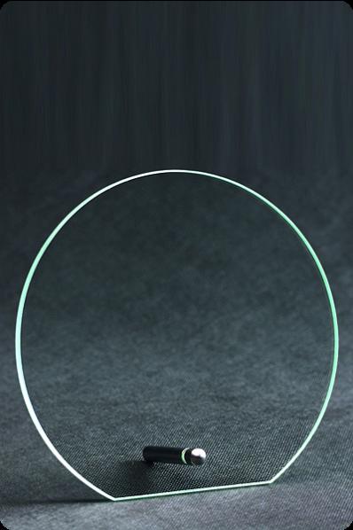Trophée en verre : Plaque ronde avec support
