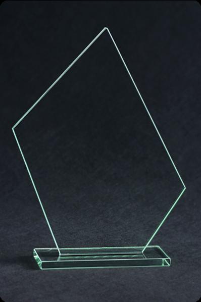 Trophée en verre : Plaque fine irrégulière