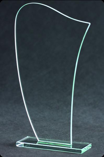 Trophée en verre : Plaque fine et arrondi.