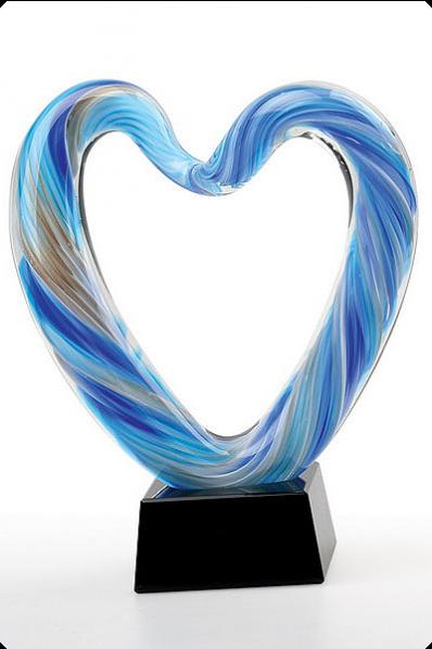 Trophée en verre : Cœur en verre 2