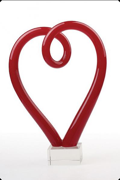 Trophée en verre :  Cœur en verre rouge