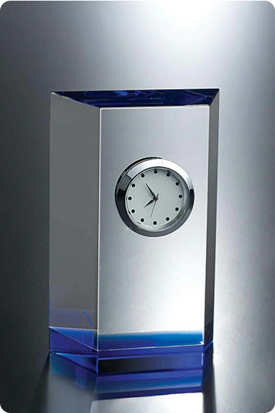Trophée en verre : Horloge lingot