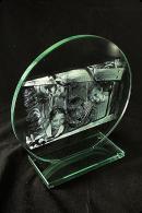 Trophée de verre : Plaque ronde