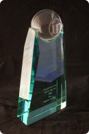 Trophée en verre : Bloc globe