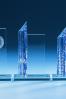 Plaque avec colonne bleue
