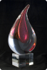 Trophée en verre :  Flamme bicolore