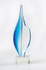 Trophée en verre : Plume bleu